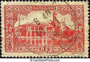 algeriet, -, circa, 1930:, en, frimærke, show, den, flagskib, i, den, admiralty, løgne, på, æn, i, den, øer, constituting, den, historiske, coastline, i, city, i, algiers