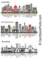 Algiers Algeria, Johannesburg South Africa and Luanda Angola City Skylines Set with Gray Buildings and Reflections Isolated on White.