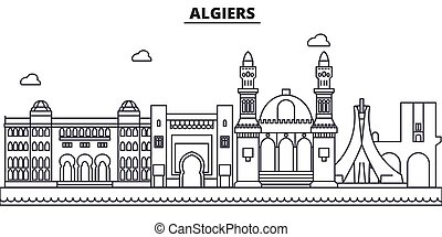 Algiers architecture line skyline illustration. Linear vector cityscape with famous landmarks, city sights, design icons. Landscape wtih editable strokes