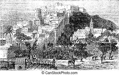 Algiers city vintage engraving. Capital of Algeria.