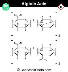 Alginic acid molecular structure, food additive E401 - E404,...