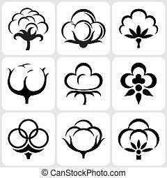 algodão, ícone, jogo
