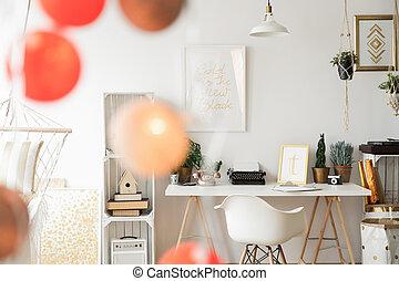 algodão, bolas, em, escritório lar