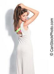 algodão, vestido