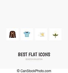 algodón, plano, conjunto, tejido de punto, elements., tejido de punto, blusa, incluye, madeja, también, vector, pulóver, objects., algodón, otro, icono