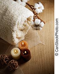 algodón, toalla, y, velas