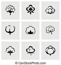 algodón, vector, conjunto, icono