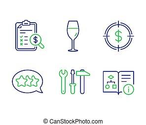 algorithm, レポート, ターゲット, ドル, signs., wineglass, 道具, set., ベクトル, アイコン, テクニカル, 星, 会計, スパナー