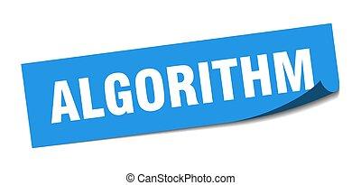 algorithm., algorithm, policía, signo., sticker., cuadrado