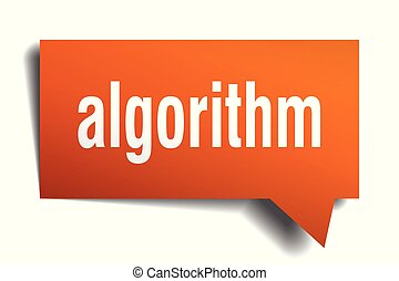 algorithm orange 3d speech bubble - algorithm orange 3d...