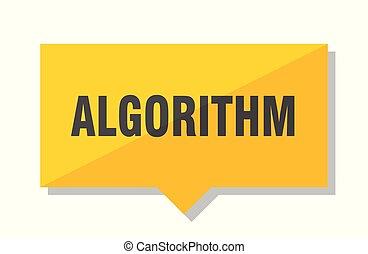 algorithm price tag - algorithm yellow square price tag