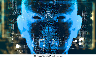 Algorithm programming and artificial intelligence concept. ...