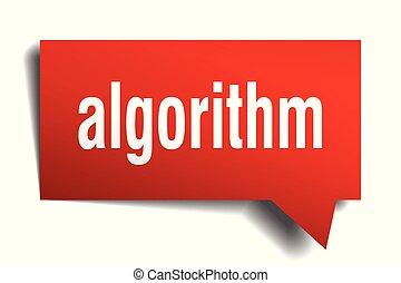 algorithm red 3d speech bubble - algorithm red 3d square...