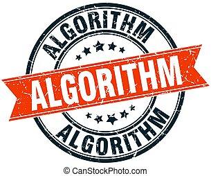 algorithm round grunge ribbon stamp