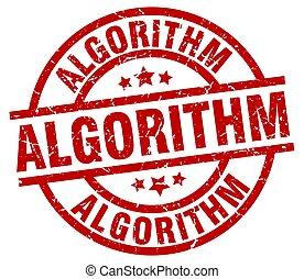 algorithm round red grunge stamp