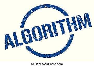 algorithm stamp - algorithm blue round stamp