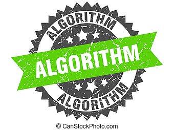 algorithm stamp. grunge round sign with ribbon - algorithm ...