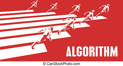 Algorithm with Business People Running in a Path