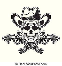 alguacil, cráneo, en, sombrero vaquero, con, dos, cruzado, armas de fuego