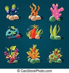 algues, ensemble, decoration., éléments, aquarium, dessin animé