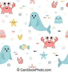 algues, fish, méduse, tissu, textile., modèle, puéril, seamless, texture, animals., seal., gosses, fond, etoile mer, ou, mer
