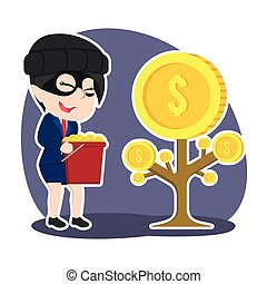alguien, mujer de negocios, coins, árbol, ladrón, else, ...