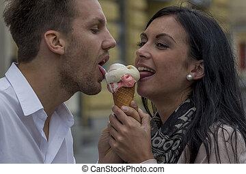 algum, comer, sorvete