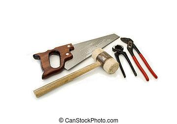 algum, ferramentas, branco, fundo