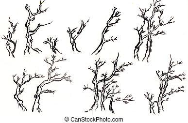 algum, tipo, árvore, chinês, pintura