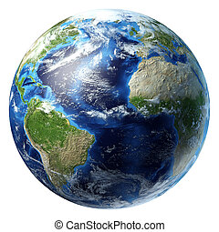 algunos, clouds., planeta, atlántico, tierra, vista., océano