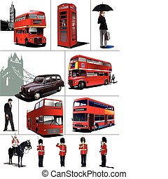 algunos, illustra, images., vector, londres