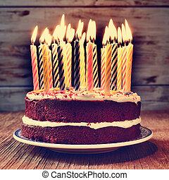 algunos, velas, lit, torta de cumpleaños, filtrado