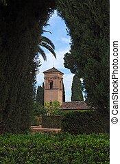 alhambra, 見られた, 庭, 宮殿