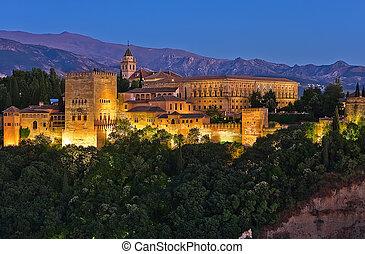 Alhambra after sunset, Granada, Spain