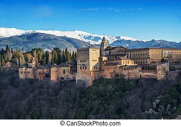 alhambra, antena, granada, pałac, prospekt