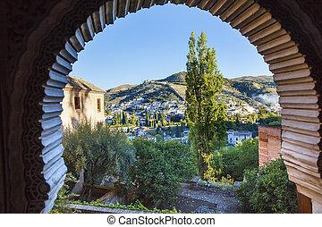 Alhambra Arch Granada Cityscape Churches Andalusia Spain - ...