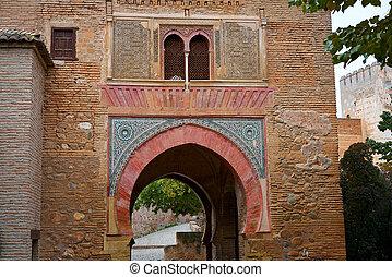 Alhambra arch Puerta del vino in Granada of Spain Wine...