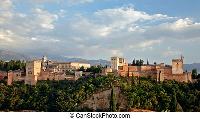 Alhambra castle in Andalusia in the early evening -...