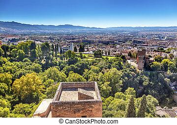 Alhambra Castle Tower Cityscape Churchs Granada Andalusia ...