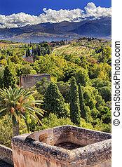 Alhambra Castle Tower Cityscape Farm Sierra  Nevada Mountains Gr