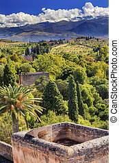 Alhambra Castle Tower Cityscape Farm Sierra  Nevada Mountains Gr