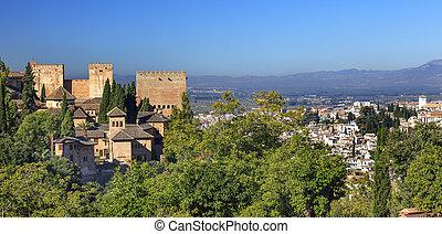 Alhambra Castle Towers Cityscape Churchs Granada Andalusia ...
