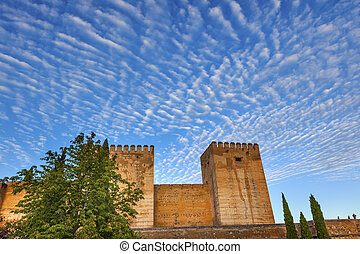 Alhambra Castle Walls Morning Sky Cityscape Granada Andalusia Spain