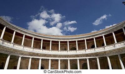 Alhambra, Granada, Spain - Renaissance palace of Carlos V,...
