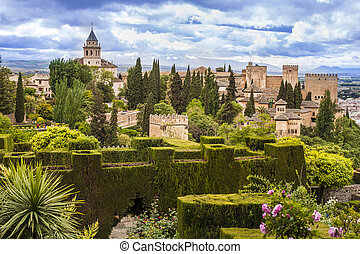 Alhambra in Granada, Spain - Lush gardens of Alhambra,...