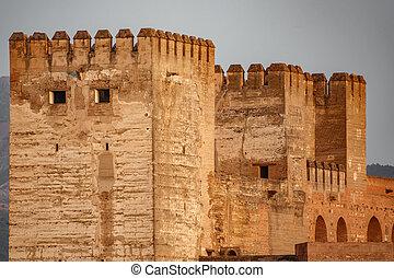 Alhambra Merlons at dusk in Granada