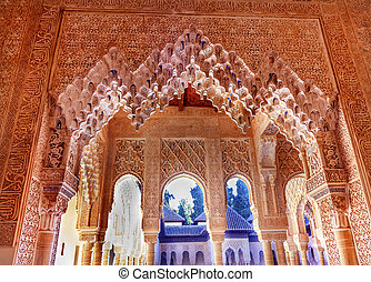 Alhambra Moorish Courtyard Lions Pillars Granada Andalusia Spain