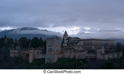 alhambra, nuages, orage