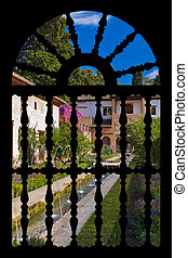 Alhambra palace at Granada Spain - architecture and nature...