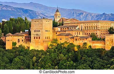 Alhambra palace, Granada, Spain - Alhambra palace at night, ...